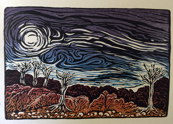 Angry Skies color woodcut Southwest desert landscape winter winds