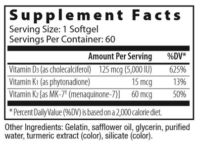 Vitamin D3 5000 with K2, 60 softgels
