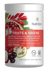 NUTRIDYN KIDS FRUITS & GREENS, FRUIT PUNCH FLAVOR, 296.4 gm