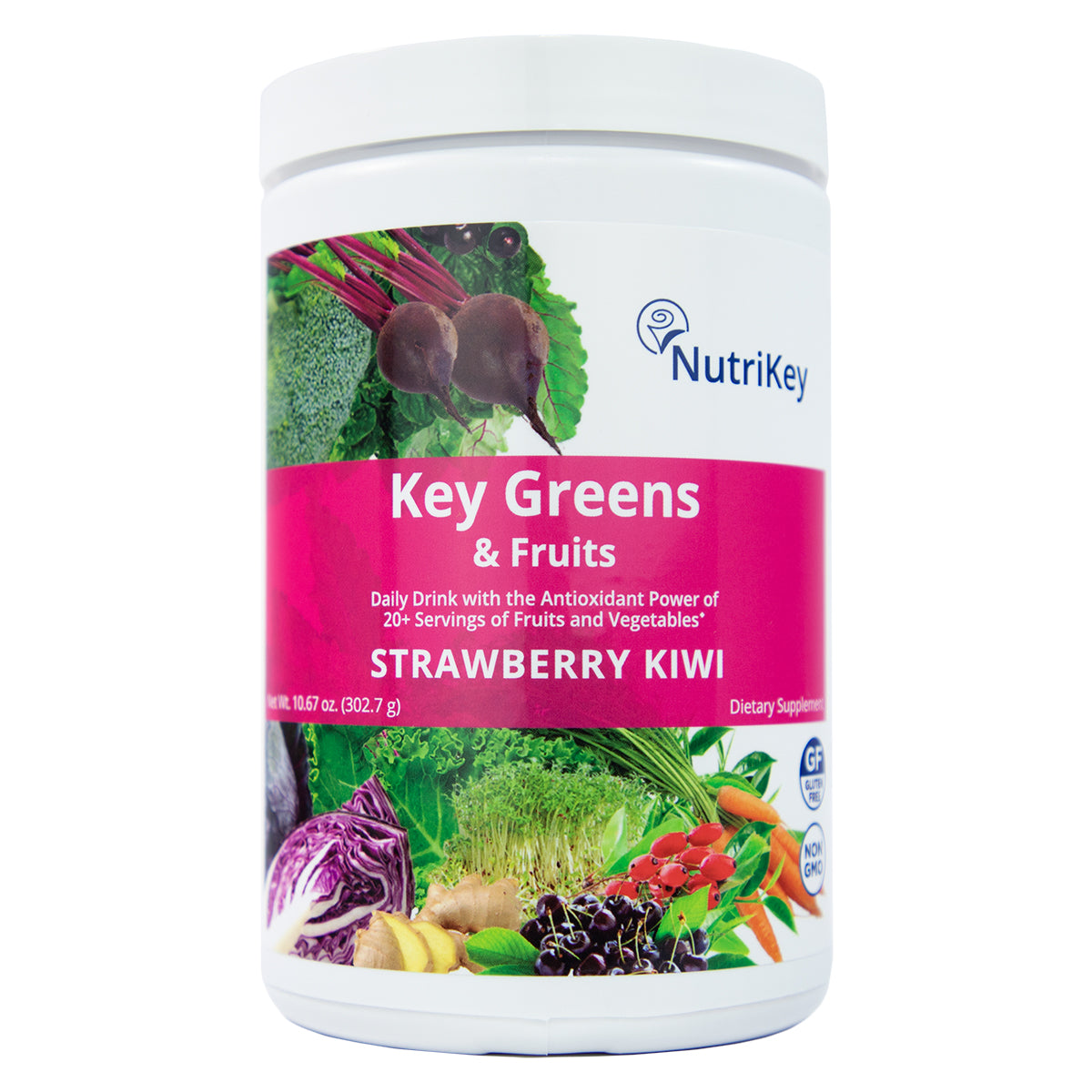 Key Greens & Fruits Canister, Strawberry Kiwi