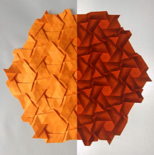 origami home decor sculpture with backlighting gathering folds