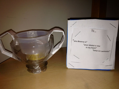 handmade swim trophy from 8 year old boy to his 11 year old brother