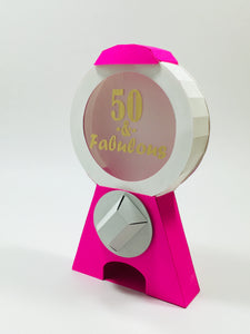 pink custom gold sticker octogifts 50th birthday candy dispenser greeting card octogifts origami