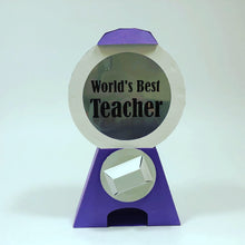 Load image into Gallery viewer, OctoGifts purple world's best teacher customizable paper origami candy dispenser greeting cards