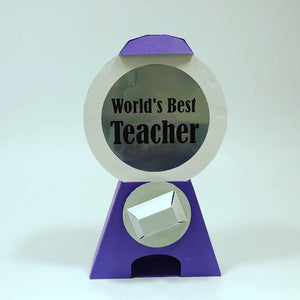 OctoGifts purple world's best teacher customizable paper origami candy dispenser greeting cards