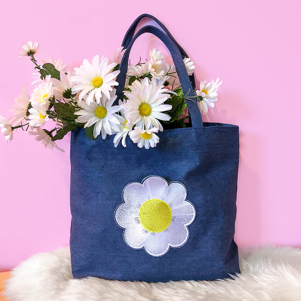 Daisy Pocket Denim Tote Bag