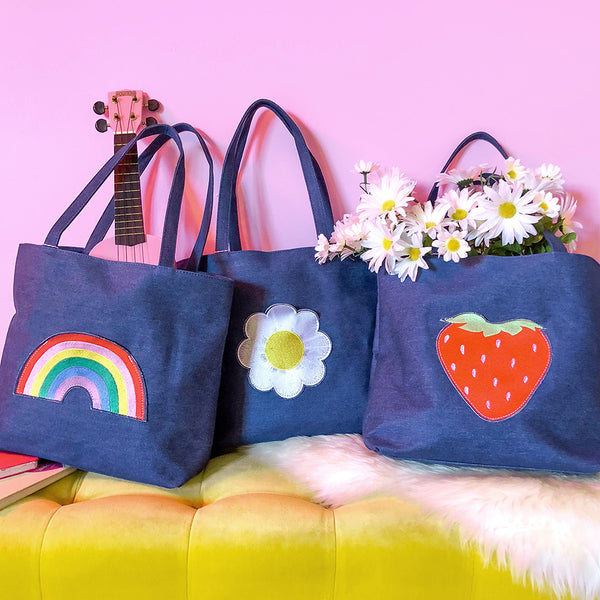 Strawberry Pocket Denim Tote Bag