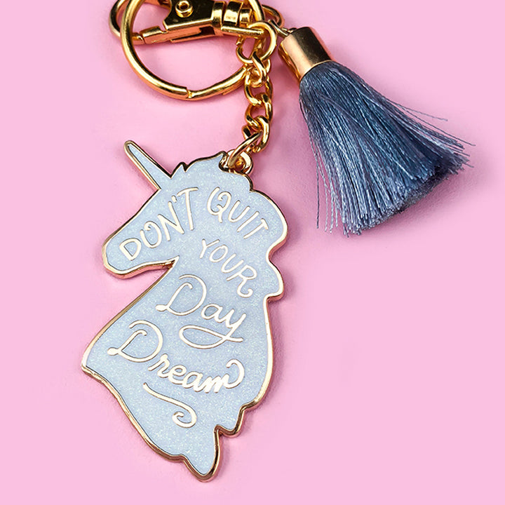 Unicorn Daydreams Keychain - White Iridescent Glitter
