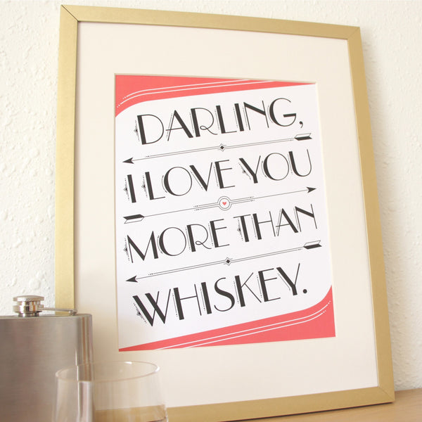 Art Prints - Art Prints - I Love You > Whiskey Art Print
