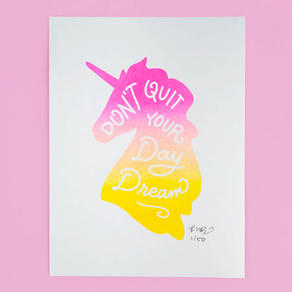 Unicorn Daydreams Riso Art Print