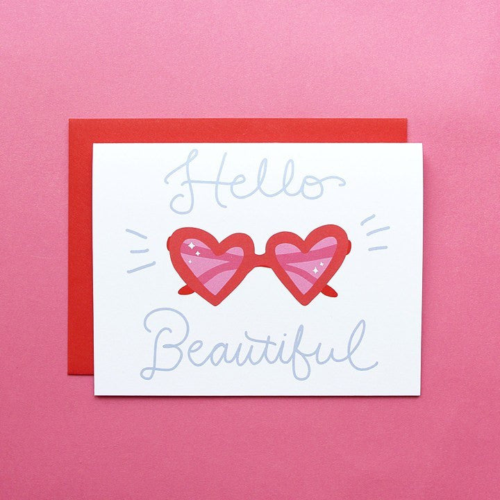 Cards & Tags - Love & Friendship - Hello Beautiful Heart Sunnies Card