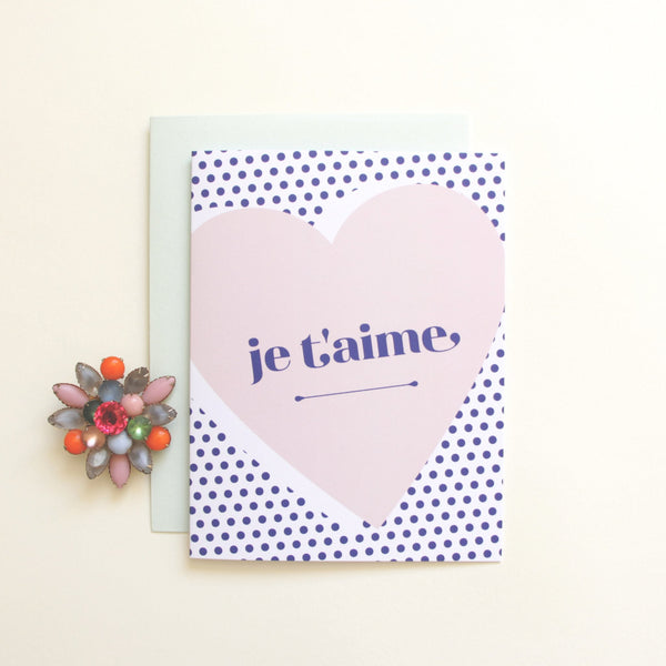 Cards & Tags - Love & Friendship - Je T'aime Heart Card