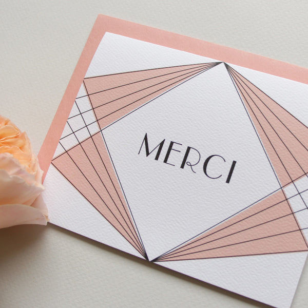 Cards & Tags - Thank You - Retro Diamonds Merci Card