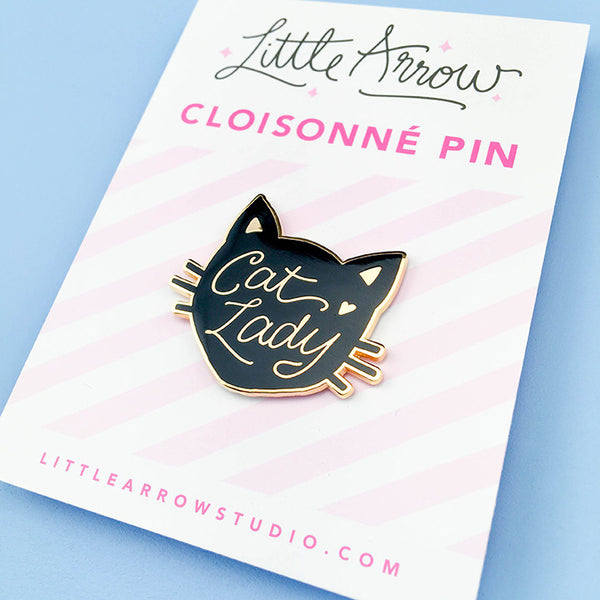 Cat Lady Lapel Pin - Black