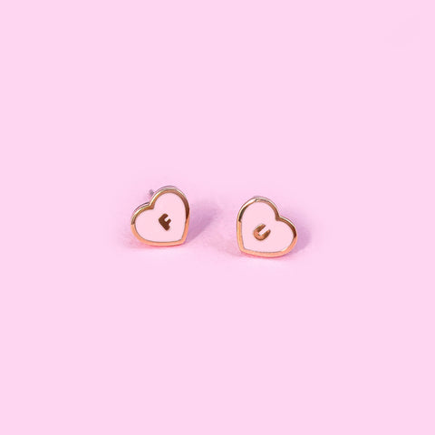 Tiny FU Pink Heart Earrings