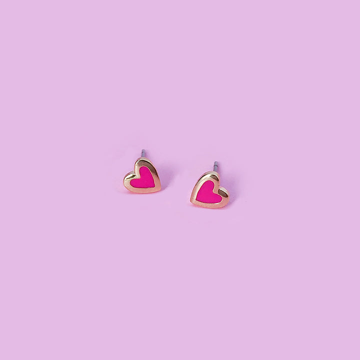 Tiny Neon Pink Heart Earrings