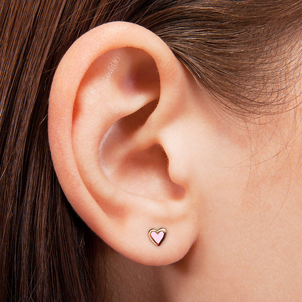 Tiny Light Pink Heart Earrings