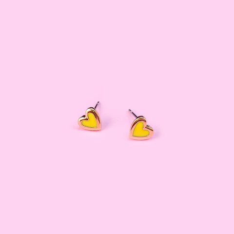 Tiny Yellow Heart Earrings