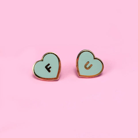 FU Hearts Pin Set - Mint