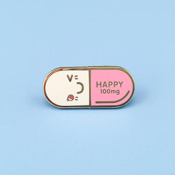 Mr. Happy Pill Lapel Pin - Pink
