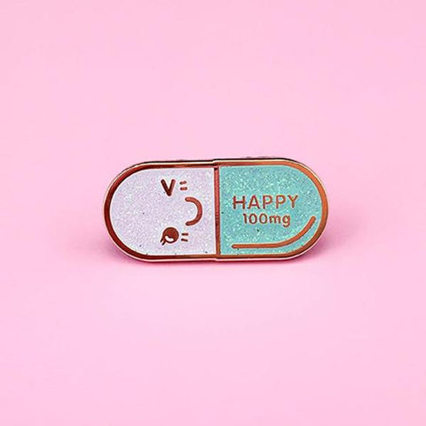 Mr. Happy Pill Lapel Pin - Iridescent Teal Glitter