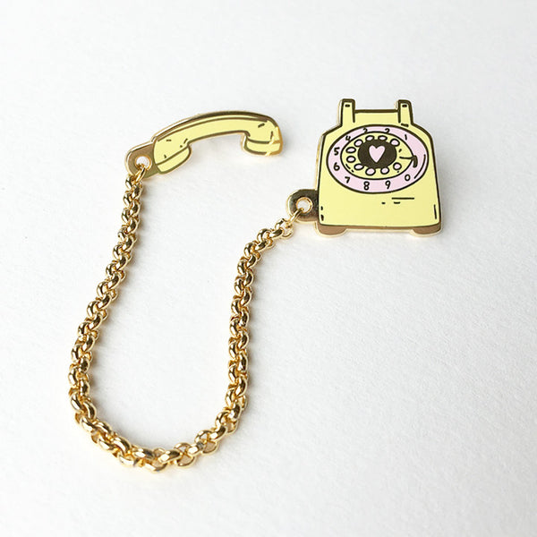 Rotary Dial Telephone Pin - Lemon