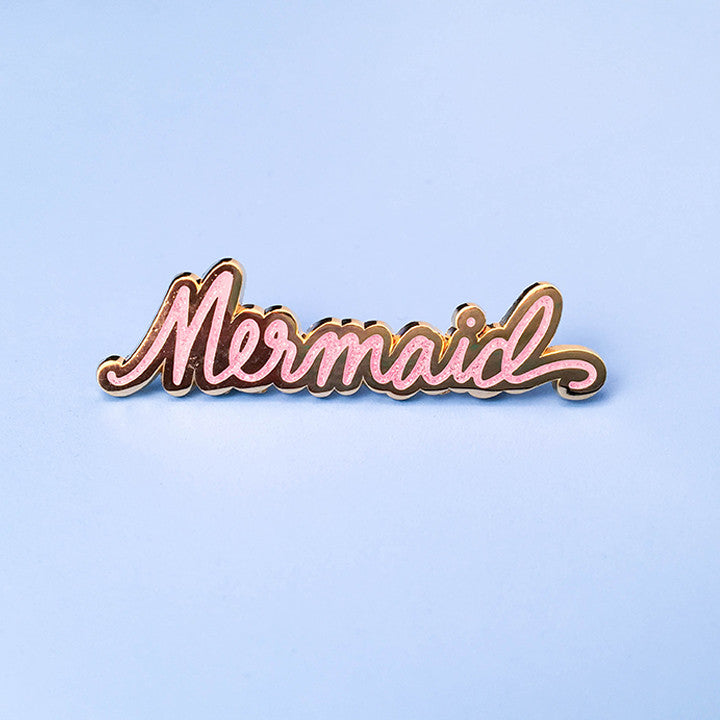 Mermaid Lapel Pin - Pink Glitter