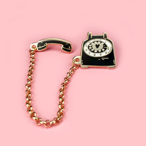 Rotary Dial Telephone Pin - Black