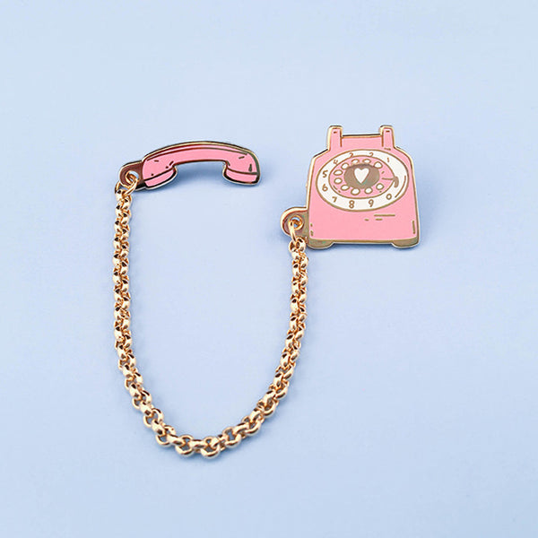 Rotary Dial Telephone Lapel Pin - Pink