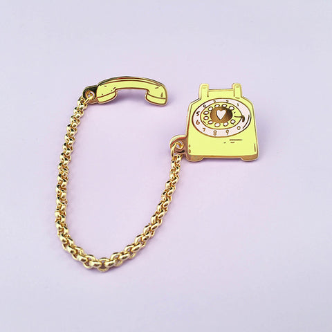 Rotary Dial Telephone Lapel Pin - Lemon