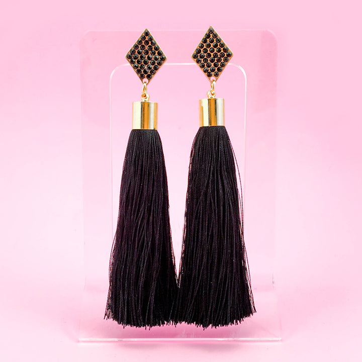 Diamond Tassel Earrings - Black