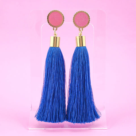 Round Tassel Earrings - Cobalt