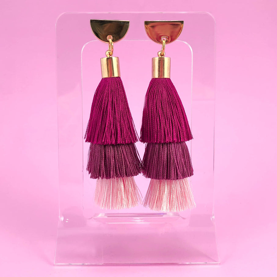 Half Moon Tassel Earrings - Plum Ombré