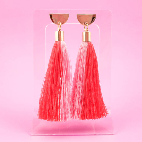 Half Moon Tassel Earrings - Coral/Pink