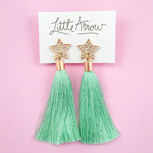 Star Tassel Earrings - Mint