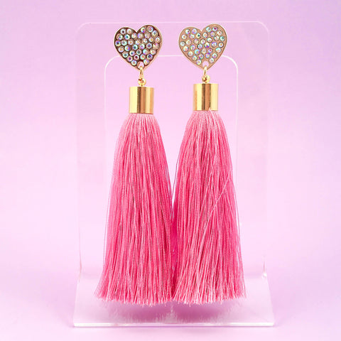 Heart Tassel Earrings - Pink