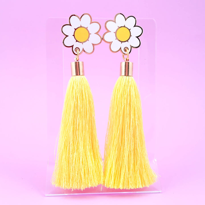 Daisy Tassel Earrings - Yellow