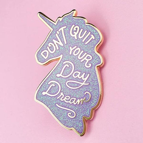 Unicorn Day Dreams Lapel Pin - Iridescent Lilac Glitter
