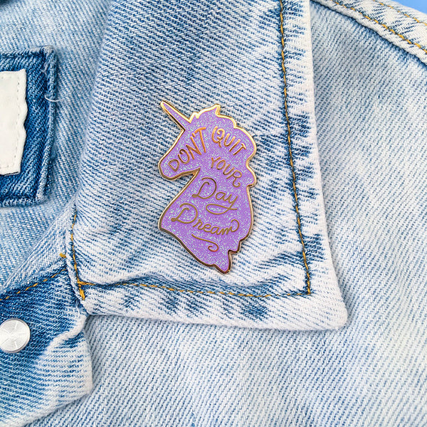 Unicorn Day Dreams Lapel Pin - Lilac Iridescent Glitter