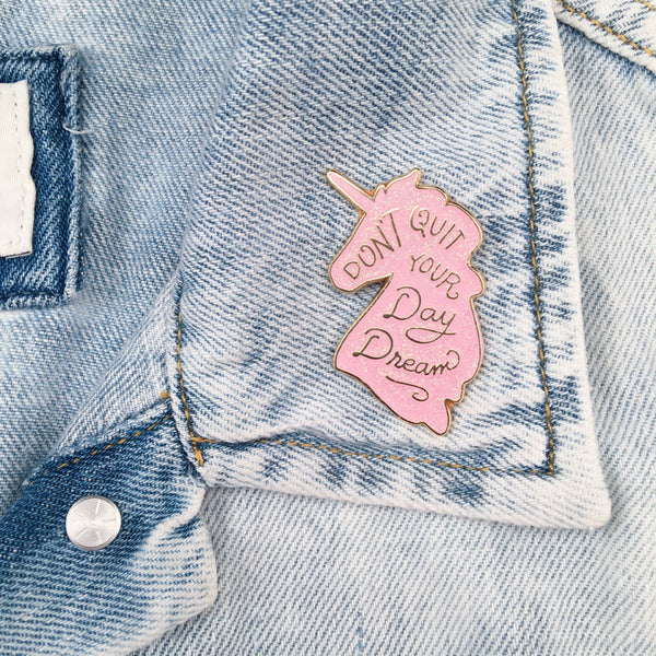 Unicorn Daydreams Pin - Pink Iridescent Glitter