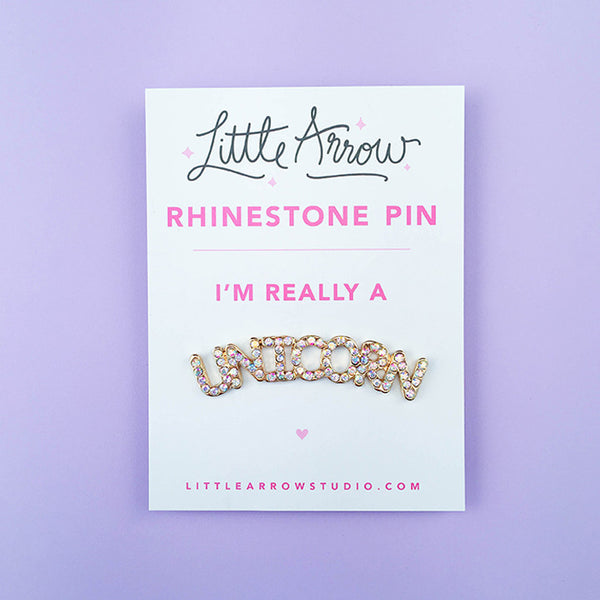 Unicorn Rhinestone Lapel Pin