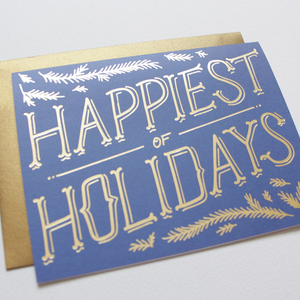 Holiday - Cards - Golden Pine Boughs Holiday Card
