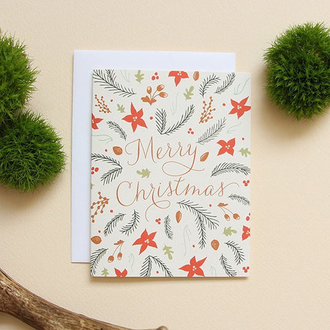 SALE! Woodland Flora Holiday Card