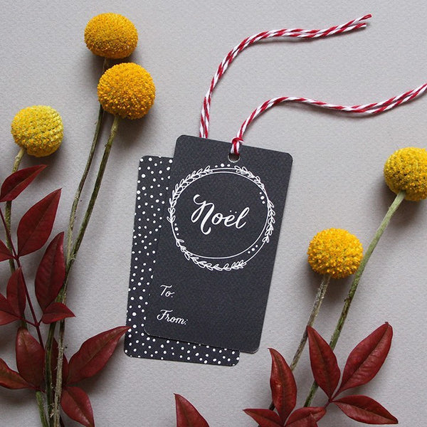 Holiday - Gift Tags - Chalkboard Wreath Holiday Gift Tags