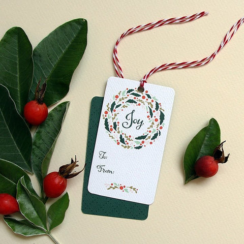 Joy Wreath Holiday Gift Tags