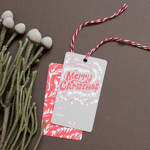 Snowy Vines Holiday Gift Tags