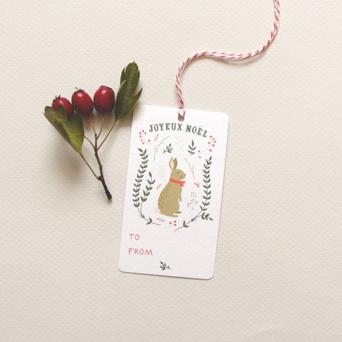 Winter Hare Holiday Gift Tags