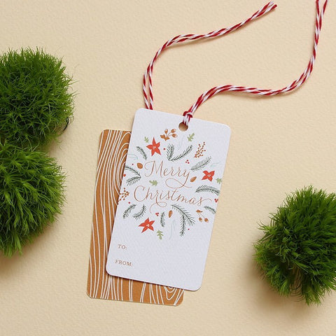 Woodland Flora Holiday Gift Tags