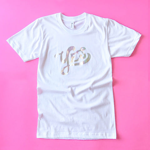 Iridescent Foil Yes Tee - Size XS