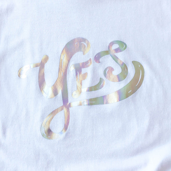 Iridescent Foil Yes Tee - Size L